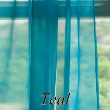 Turquoise Sheer Curtains Voile Ruffle Curtain