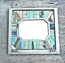 Beachy Bathroom Mirrors by Reclaimed Wood Mirror Framed Mosaic Mirror Beach Mirror Window