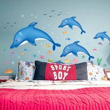 amazon com hldiy blue dolphin fish bathroom wall stickers kids amazon com hldiy blue dolphin fish bathroom wall stickers kids nursery room decor sea ocean home kitchen