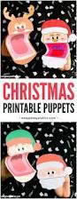 printable christmas puppets santa elf and reindeer rudolph
