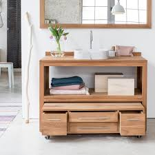 simple bathroom decoration using solid oak wood drawer teak