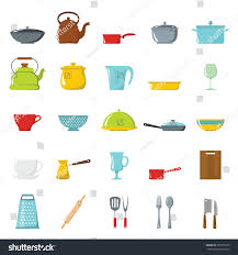 kitchen tools dishes cookware kitchenware cartoon stock vector