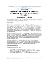university faculty use of electronic resources a review of the