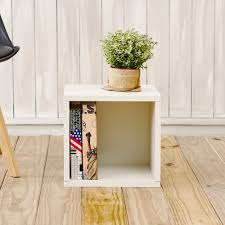 storage cubes in white finish and stackable cubby bookcase way
