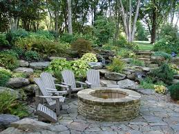 Rustic Firepit Pit With Seating Area Rustic Patio Cleveland By Land