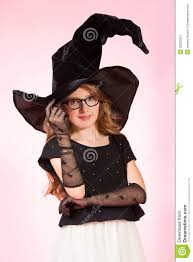 pink witch costume girls big hat halloween stock images image 33829254
