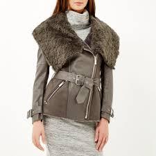 river island dark grey belted faux fur jacket in gray lyst