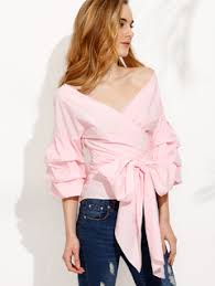 bow tie blouse pink pleated bell sleeve bow tie waist blouse makemechic com