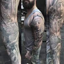 guy winged god religious tattoo sleeve tattoos pinterest