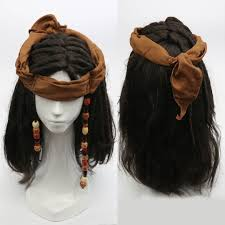 pirates of the caribbean jack sparrow wig headband hat costume
