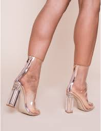 gold digger clear block heeled ankle boots in rose gold lamoda