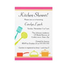 colorful kitchen bridal shower invitation with pots and pans