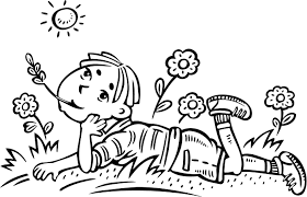coloring page of a boy daydreaming in a field for kids coloring