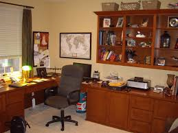 maple home office with built in corner desk and upper bookshelves