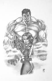 weearts hulk and black widow sketch another inspired piece from