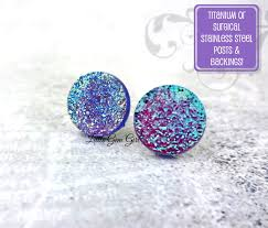 changing earrings 12mm purple color changing iridescent faux druzy glitter stud