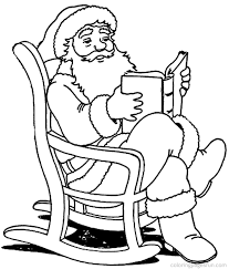 santa claus reading book in christmas coloring pages coloring