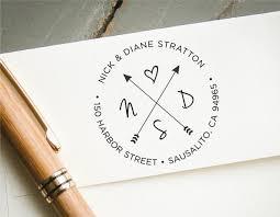 return address on wedding invitations self inking return address st hearts and crossing arrows