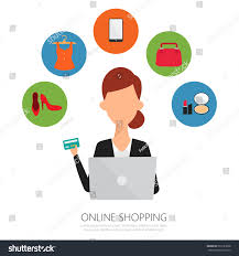 onlin business woman office work online payment stock vector 593181608
