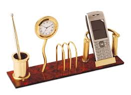 buy wooden desk clock with mobile stand and pen stand online buy