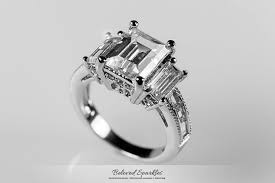 5 carat engagement ring emerald cz engagement ring 5 carat emerald cut engagement