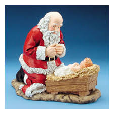 santa kneeling at the manger kneeling santa at the manger figurine findgift