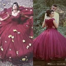 2017 new arrive burgundy puffy wedding dresses cap sleeve beaded