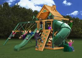 Wooden Swing Set Canopy by Gorilla Playsets Mountainer Swing Set With Green Vinyl Canopy