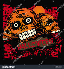 halloween background skulls vector grunge background halloween skulls tshirt stock vector