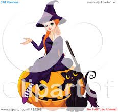 cartoon of a halloween witch and her cat on a jackolantern