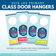 2018 lds primary theme door hangers i am a child of god the red