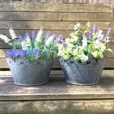 vintage style grey set of 2 metal garden planters