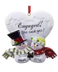 engaged snowman personalized ornament