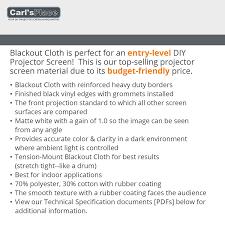 home theater screen fabric amazon com carl u0027s blackout cloth 16 9 6 75x12 finished edge