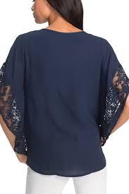 sleeve chiffon blouse navy lace splice batwing sleeve chiffon blouse mb250783 5