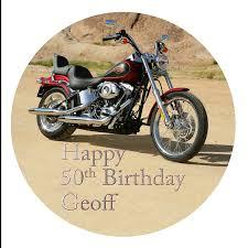 personalised harley davidson motorbike cake topper a pre cut