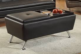 Tray Top Storage Ottoman Exciting Black Storage Ottoman Round Shape Microfiber Upholstery