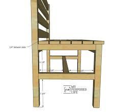 wooden slat bench plans rustic bench with back my repurposed life