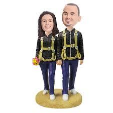 cake toppers bobblehead parachute jump lover custom bobble wedding cake topper