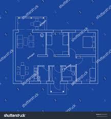 blueprint floor plan modern apartment suburban stock vector
