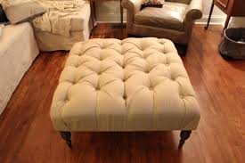 furniture ivory tufted square upholstered ottoman