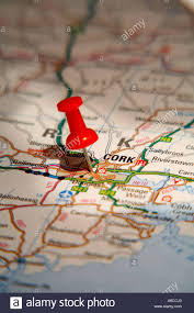 Ireland On Map Map Pin Pointing To Cork Ireland On A Road Map Stock Photo
