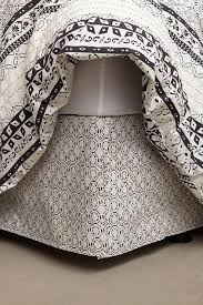 Anthropologie Bed Skirt Embroidered Black And White Bedskirt