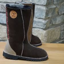 womens ugg style boots uk sheepskin boots calf height mocca bark with celtic braid size
