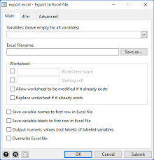 excel import export stata