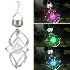 solar powered spiral wind spinner with colour changing led light