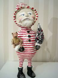 folk art santa claus doll papier mache folk art ooak hand made