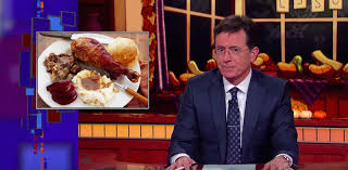 stephen colbert serves up thanksgiving controversy with yams vs
