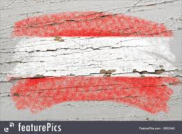 Austria Flag Flags Flag Of Austria On Grunge Wooden Texture Painted With Chalk