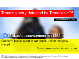 canberra jockey killed in car crash trainer seriously injured